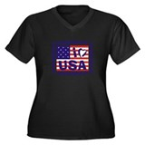 I LOVE USA Women's Plus Size V-Neck Dark T-Shirt