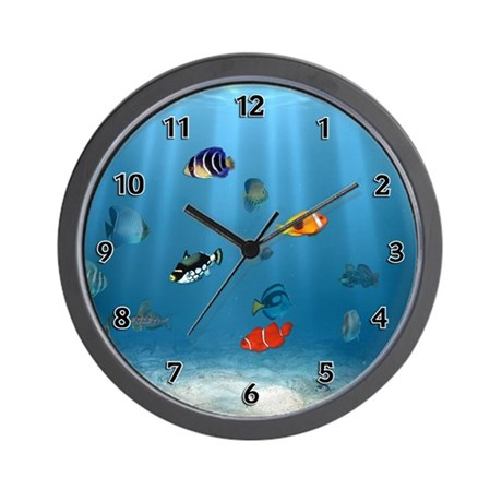 Oceans of fish wall clock by bonfiredesigns for Fish wall clock