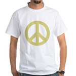 Golden Peace Sign White T-Shirt