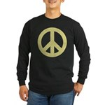 Golden Peace Sign Long Sleeve Dark T-Shirt