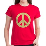 Golden Peace Sign Women's Dark T-Shirt