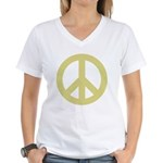 Golden Peace Sign Women's V-Neck T-Shirt