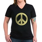 Golden Peace Sign Women's V-Neck Dark T-Shirt