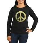 Golden Peace Sign Women's Long Sleeve Dark T-Shirt