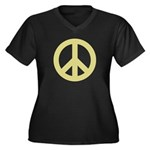 Golden Peace Sign Women's Plus Size V-Neck Dark T-