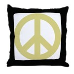 Golden Peace Sign Throw Pillow