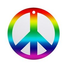 Rainbow Peace Sign Ornament (Round)