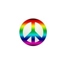 Rainbow Peace Sign Mini Button