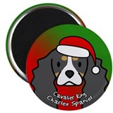 Cartoon Tri Cavalier Spaniel Christmas Magnet