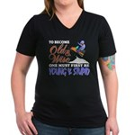 Old & Wise = Young & Stupid Women's V-Neck Dark T-