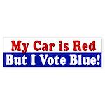 Red Car, I Vote Blue (bumper sticker)