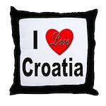 I Love Croatia Throw Pillow