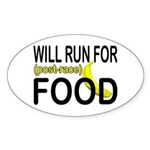 Will Run For Food Oval Sticker