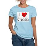 I Love Croatia (Front) Women's Pink T-Shirt