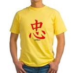Samurai Loyalty Kanji Yellow T-Shirt