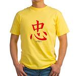 Samurai Loyalty Kanji Yellow T-Shirt