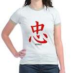 Samurai Loyalty Kanji (Front) Jr. Ringer T-Shirt