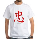 Samurai Loyalty Kanji (Front) White T-Shirt