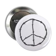 "Barbed Wire Peace Sign 2.25"" Button (10 pack)"