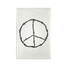 Barbed Wire Peace Sign Rectangle Magnet