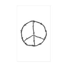 Barbed Wire Peace Sign Rectangle Sticker 50 pk)