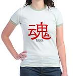 Samurai Soul Kanji (Front) Jr. Ringer T-Shirt