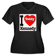 I Love Teddy Kennedy Women's Plus Size V-Neck Dark