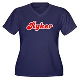 Retro Ryker (Red) Women's Plus Size V-Neck Dark T-