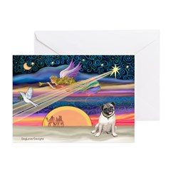 Xmas Star & Pug (#18F) Greeting Cards (Pk of 20)