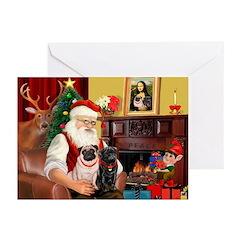 Santa's Two Pugs (P1) Greeting Cards (Pk of 10)