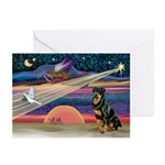 Xmas Star & Rottie Greeting Cards (Pk of 10)