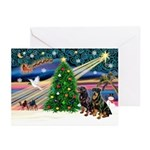 XmasMagic/2 Rotties Greeting Cards (Pk of 10)