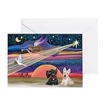 Xmas Star / 2 Scotties Greeting Card