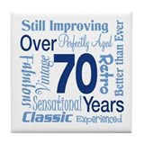 Over 70 years, 70th Birthday Tile Coaster