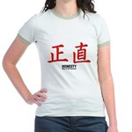 Samurai Honesty Kanji (Front) Jr. Ringer T-Shirt
