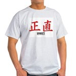 Samurai Honesty Kanji (Front) Ash Grey T-Shirt