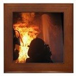 Firefighter Flashover Framed Tile