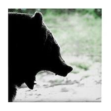 Bear Head Silhouette Tile Coaster