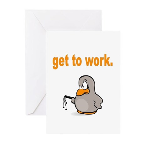 Get to Work Penguin Greeting Cards (Pk of 20)