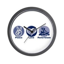 Peace Love Rollerblade Wall Clock