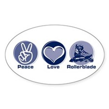 Peace Love Rollerblade Oval Sticker (10 pk)