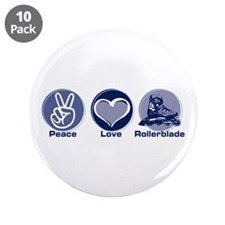 "Peace Love Rollerblade 3.5"" Button (10 pack)"