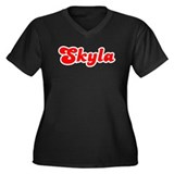 Retro Skyla (Red) Women's Plus Size V-Neck Dark T-