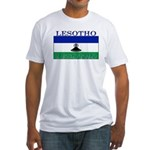 Lesotho Flag Fitted T-Shirt