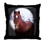 Horse in Winter Wonderland Throw Pillow