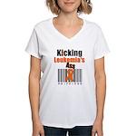 Kicking Leukemia's Ass Women's V-Neck T-Shirt