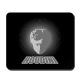 Houdini Face Mouse Pad, Gray on Black