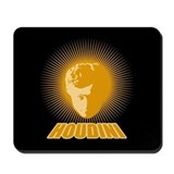 Houdini Face Mouse Pad, Orange on Black