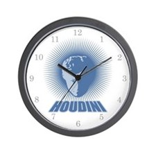 Houdini Face Wall Clock, Blue on White