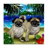 PUG DOGS Beach Tile Coaster
